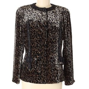 Elie Tahari Black & Metallic Print Jacket